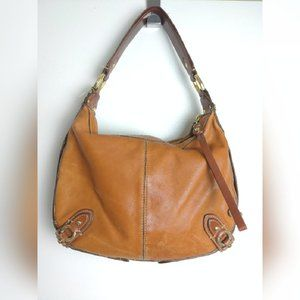 Cole Haan Womens Brown Leather Hobo Handbag Sz OS
